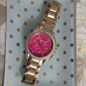 Hot Pink & Gold Fossil Watch